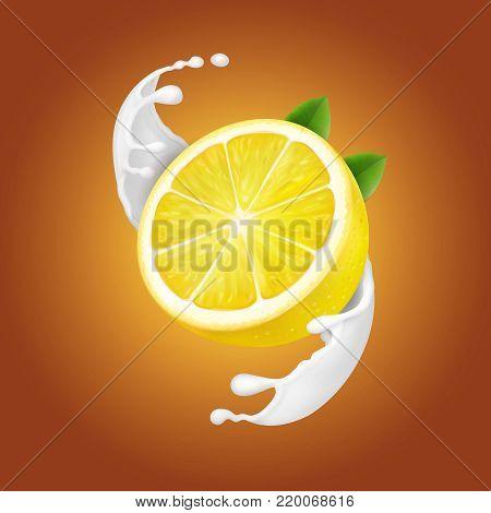 Yogurt Lemon in milk splash or yogurt flow. Realistic natural dairy product.