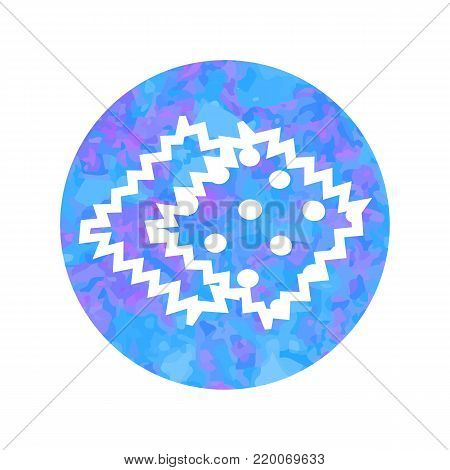 Vector hand drawn outline icon of tissue sample isolated on round watercolor background