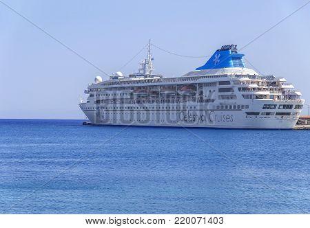 RHODES, GREECE - AUGUST 30, 2017: Celestyal Crystal Cruise in Rhodes town docked, Rhodes, Greece