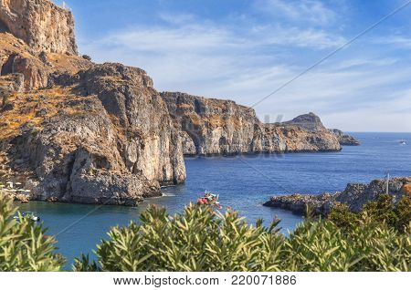Sain Paul bay of city Lindos at iceland Rhodes with sea view