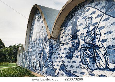 Belo Horizonte, Brazil - Dec 26, 2017: Modernist Church Of Sao Francisco De Assis By Oscar Niemeyer