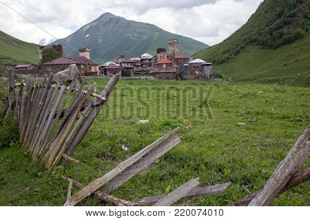 Ushguli  village in Caucasus mountains in Georgia