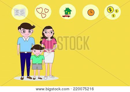 Parents and son stand in a comfortable manner and empty right side space for text. Background concepts essential to the family. Flat cartoon and icon  -Vector illustration eps 10