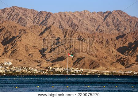 View to the red mountains of Jordan from Eilat, Israel