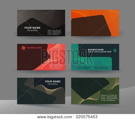 Abstract professional and designer business card template or clear and minimal visiting card set, name card dark background. Vector illustration EPS 10 for presentation slide banners