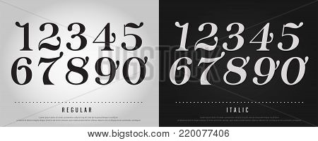 Numbers alphabet letters set. Exclusive Custom Letters. alphabet designs for logo, Poster, Invitation, etc. Typography font classic style, Regular and Italic vector illustrator