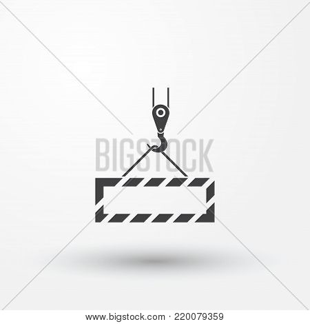 Pictograph Crane Hook, Lifting Work, Installation Works, Building, Fully Editable Vector Image