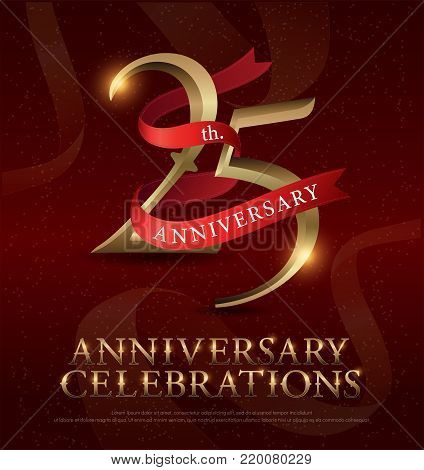25th years anniversary celebration golden logo with red ribbon on red background. vector illustrator