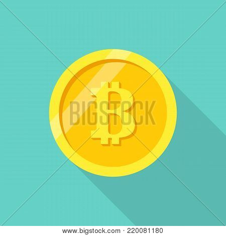 Coin bitcoin. Crypto currency. Digital money. Golden coin isolated on background with long shadow. Vector illustration flat design. Blockchain cryptocurrency.