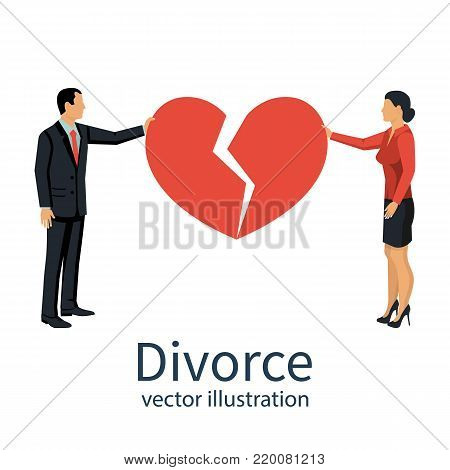 Divorce concept. Man and female holding two halves of broken heart on white background. Breakup heart concept. Crisis relationship divorce. Unhappy love, conflict. Vector illustration flat design.