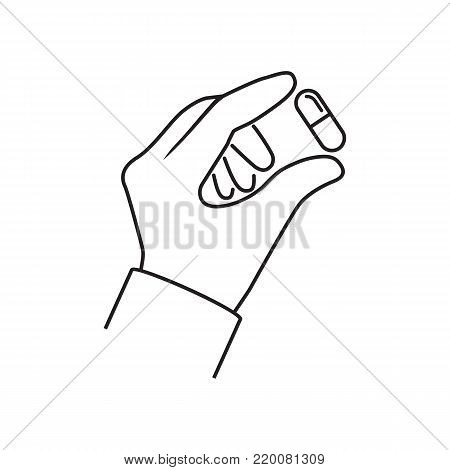 Pills in hand minimal ine design. Doctor hold of capsule fingers. Take painkillers. Medical treatment concept. Healthcare. Medical drugs. Pharmacist give tablets. Vector flat. Isolated on background.