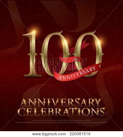 100th years anniversary celebration golden logo with red ribbon on red background. vector illustrator
