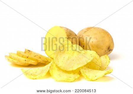 Potatoes and chips from potato on a white background, isolated.