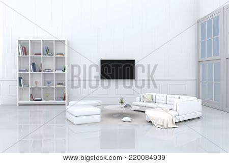 White living room decorated with white sofa,tree in glass vase, cream pillows, bookcase, chair, book, television, window, Cream carpet White cement wall it is pattern, white cement floor. 3d rendering.