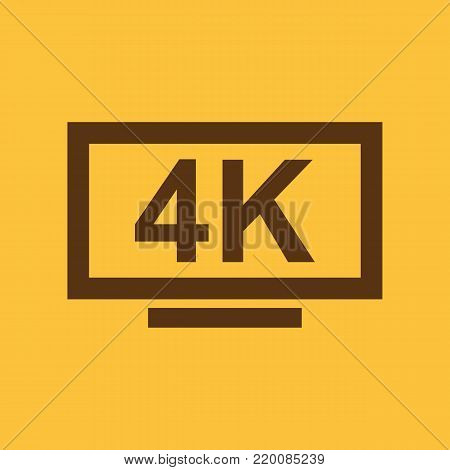 4K TV icon. Television and display, televisor symbol. Flat design. Stock - Vector illustration