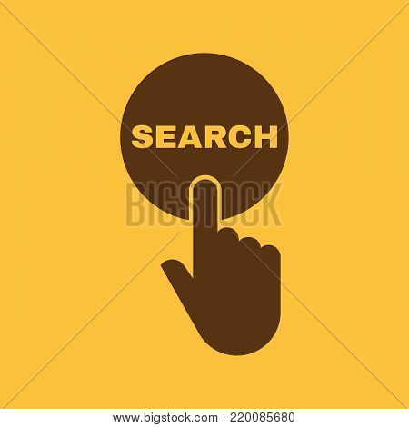 Hand pressing a button with the text SEARCH icon. Seek, look symbol. Flat design. Stock - Vector illustration
