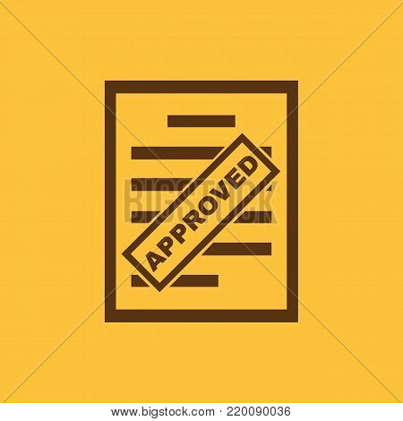 Approved document icon. Endorsed, agreed, validated symbol. Flat design. Stock - Vector illustration