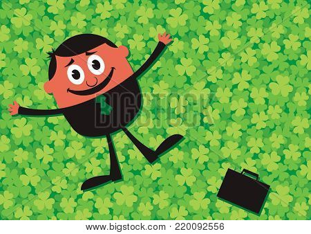 Illustration of happy businessman lying down on clover meadow. The meadow itself is seamless pattern.
