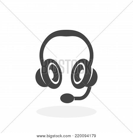 Headset icon isolated on white background. Headset vector logo. Flat design style. Modern vector pictogram for web graphics - stock vector