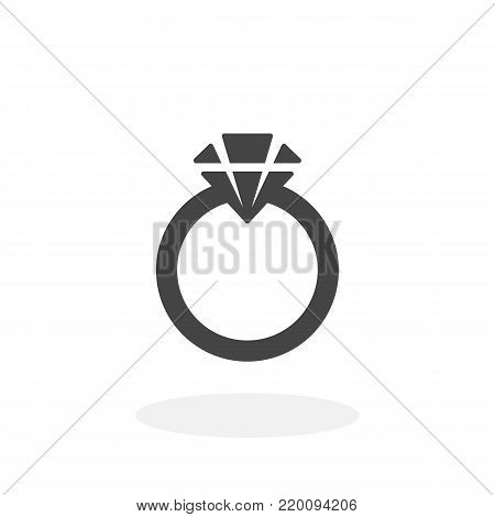 Ring with a diamond icon isolated on white background. Ring vector logo. Flat design style. Modern vector pictogram for web graphics - stock vector