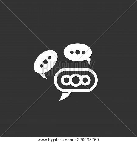 Speech bubbles icon illustration isolated on black background. Speech bubbles vector logo. Flat design style. Modern vector pictogram, sign, symbol for web graphics - stock vector