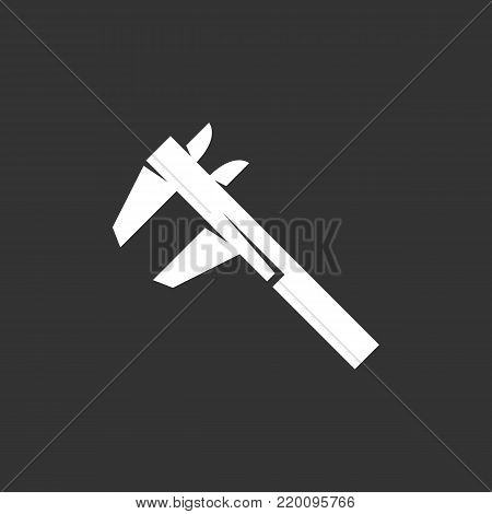 Calipers icon illustration isolated on black background. Calipers vector logo. Flat design style. Modern vector pictogram, sign, symbol for web graphics - stock vector