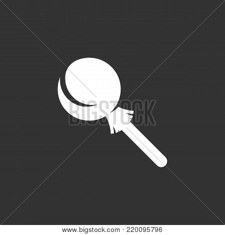 Candy on stick icon illustration isolated on black background. Candy on stick vector logo. Flat design style. Modern vector pictogram, sign, symbol for web graphics - stock vector