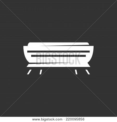 Air conditioner icon illustration isolated on black background. Air conditioner vector logo. Flat design style. Modern vector pictogram, sign, symbol for web graphics - stock vector