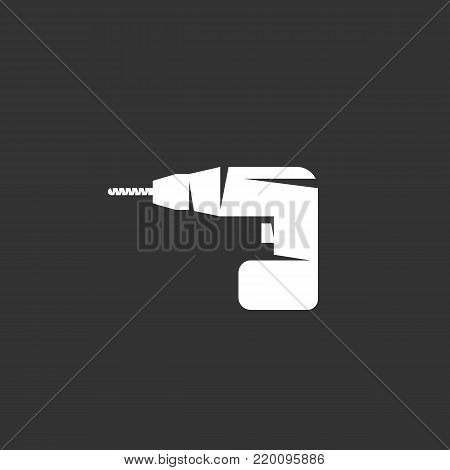 Drill icon illustration isolated on black background. Drill vector logo. Flat design style. Modern vector pictogram, sign, symbol for web graphics - stock vector