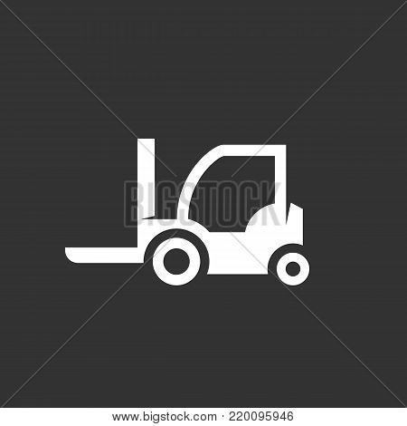 Wheel loader icon illustration isolated on black background. Forklift loader vector logo. Flat design style. Modern vector pictogram, sign, symbol for web graphics - stock vector