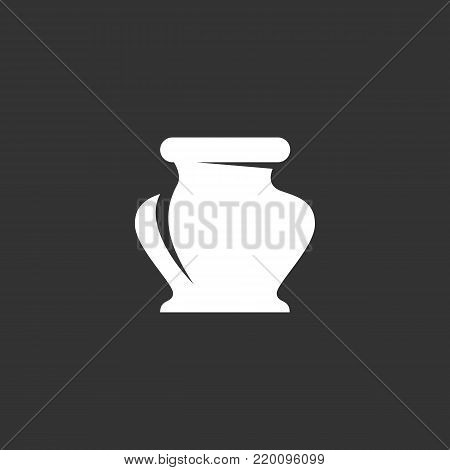 Ink bottle icon illustration isolated on black background. Ink bottle vector logo. Flat design style. Modern vector pictogram, sign, symbol for web graphics - stock vector
