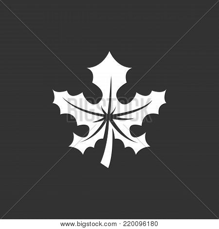 Maple leaf icon illustration isolated on black background. Maple leaf vector logo. Flat design style. Modern vector pictogram, sign, symbol for web graphics - stock vector