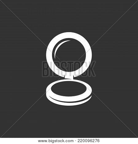 Mirror with powder icon illustration isolated on black background. Mirror with powder vector logo. Flat design style. Modern vector pictogram, sign, symbol for web graphics - stock vector