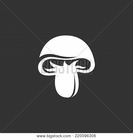Mushroom icon illustration isolated on black background. Mushroom vector logo. Flat design style. Modern vector pictogram, sign, symbol for web graphics - stock vector