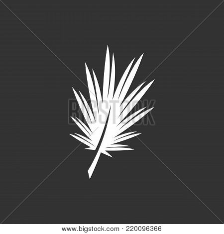 Palm leaf icon illustration isolated on black background. Palm leaf vector logo. Flat design style. Modern vector pictogram, sign, symbol for web graphics - stock vector
