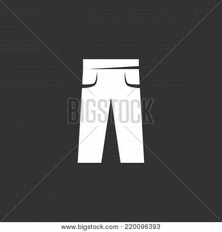 Pants icon illustration isolated on black background. Pants vector logo. Flat design style. Modern vector pictogram, sign, symbol for web graphics - stock vector