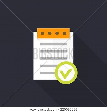 valid document icon, approved report in flat style, eps 10 file, easy to edit