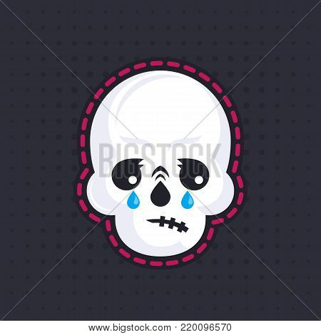 crying skull emoji, eps 10 file, easy to edit