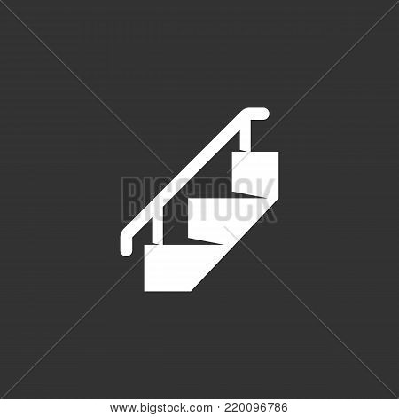 Staircase icon illustration isolated on black background. Staircase vector logo. Flat design style. Modern vector pictogram, sign, symbol for web graphics - stock vector