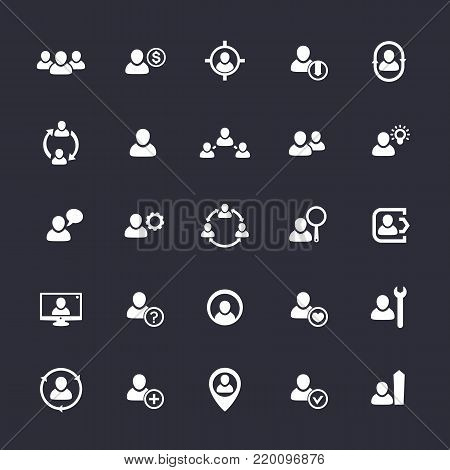 Human resources icons, HR, staff, customers, eps 10 file, easy to edit