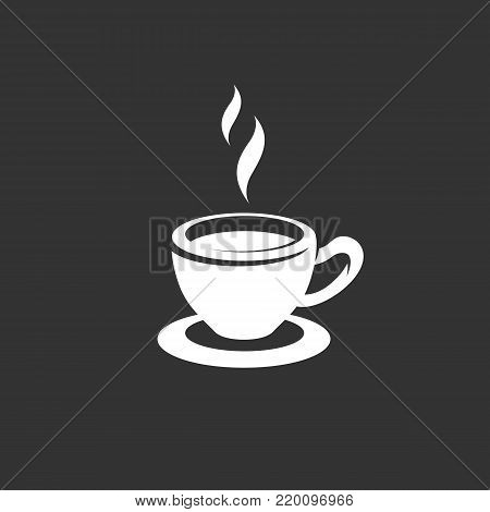 Tea cup icon illustration isolated on black background. Tea cup vector logo. Flat design style. Modern vector pictogram, sign, symbol for web graphics - stock vector