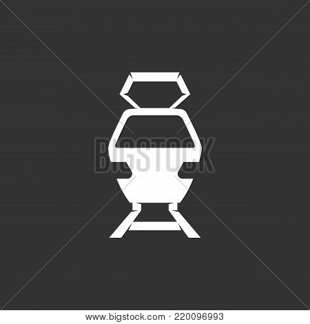 Train icon illustration isolated on black background. Train vector logo. Flat design style. Modern vector pictogram, sign, symbol for web graphics - stock vector