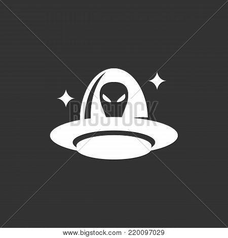 UFO icon illustration isolated on black background. UFO vector logo. Flat design style. Alien vector pictogram, sign, symbol for web graphics - stock vector