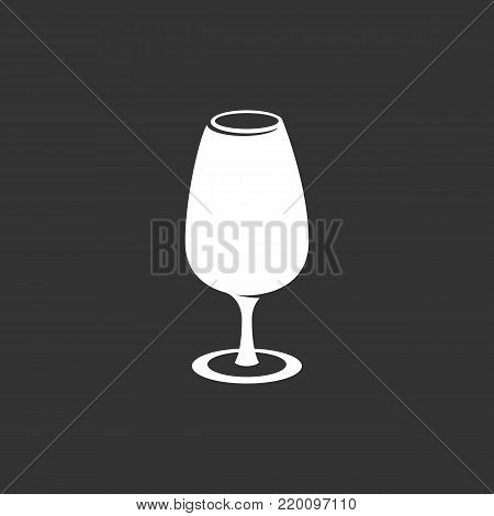 Wine in the glass icon illustration isolated on black background. Wineglass vector logo. Flat design style. Modern vector pictogram, sign, symbol for web graphics - stock vector