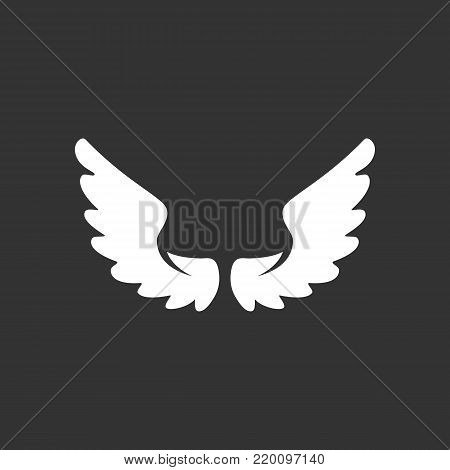 Wings icon illustration isolated on black background. Wings vector logo. Flat design style. Modern vector pictogram, sign, symbol for web graphics - stock vector