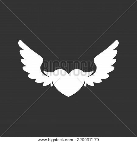 Heart with wings icon illustration isolated on black background. Heart with wings vector logo. Flat design style. Modern vector pictogram, sign, symbol for web graphics - stock vector