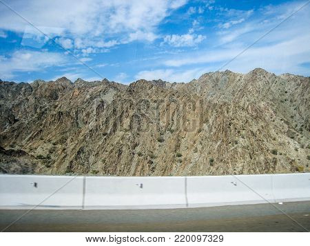 Mountains and desert in the suburbs of Dubai UAE