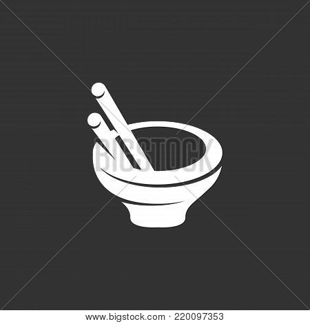 Asian food icon isolated on black background. Asian food vector logo. Flat design style. Modern vector pictogram for web graphics - stock vector