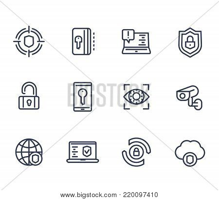 Security and protection line icons on white, secure browsing, cybersecurity, firewall