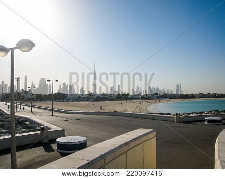 Embankment of the Persian Gulf with lanterns in the UAE